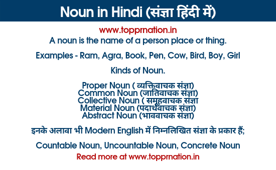 Noun in Hindi - Kinds of Noun and Rules and Examples