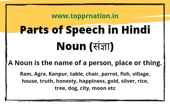 Parts of speech in Hindi in English Grammar