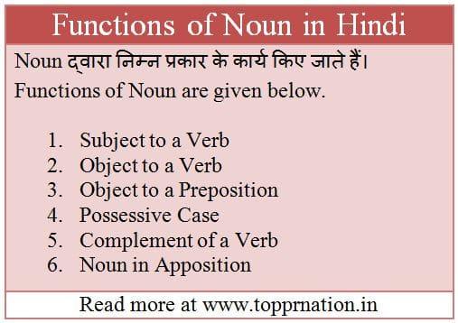 Functions of Noun in Hindi