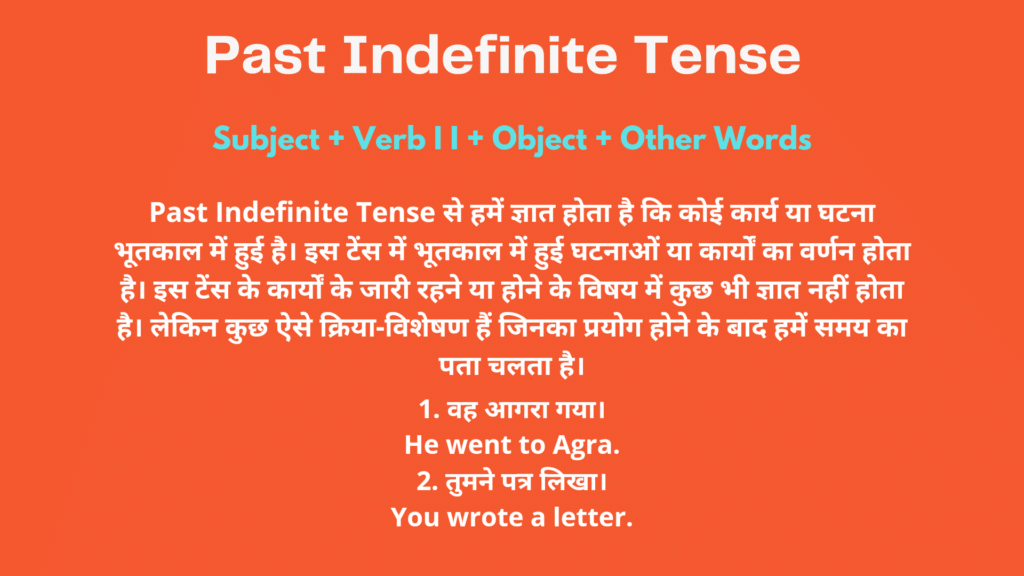 Past Indefinite Tense Examples in Hindi