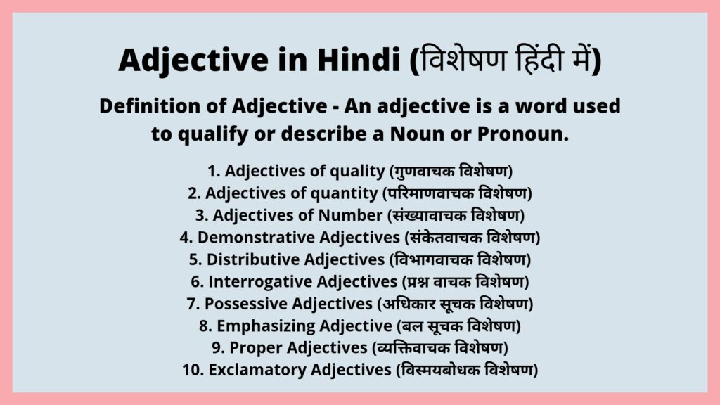 Adjective in Hindi - Meaning, Kinds and Examples