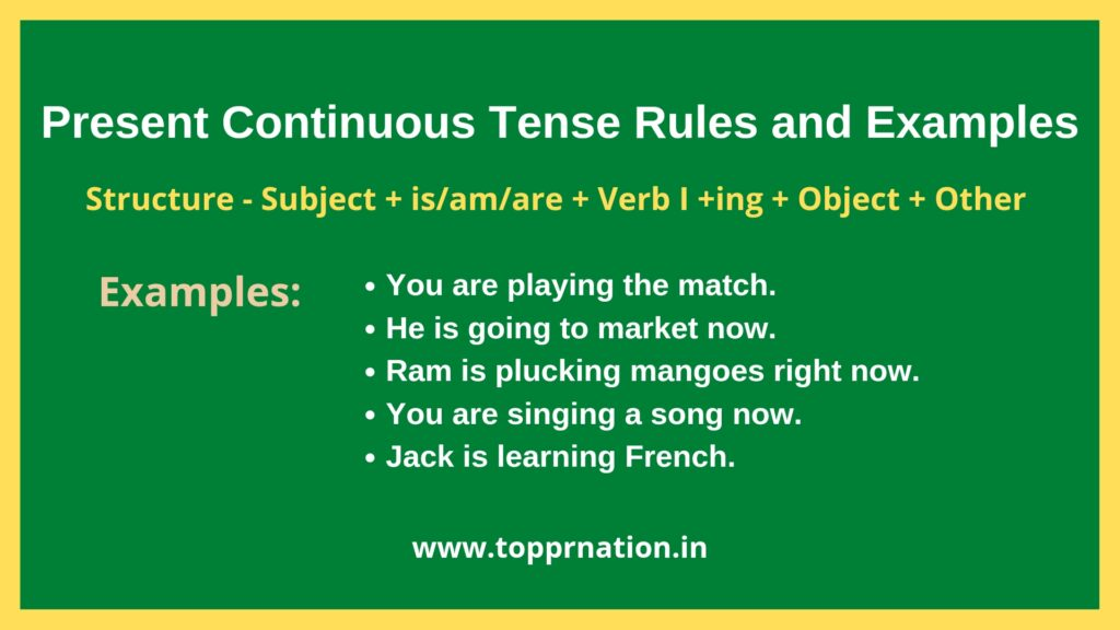 Present Continuous Tense Rules & Examples (Present Progressive Tense)