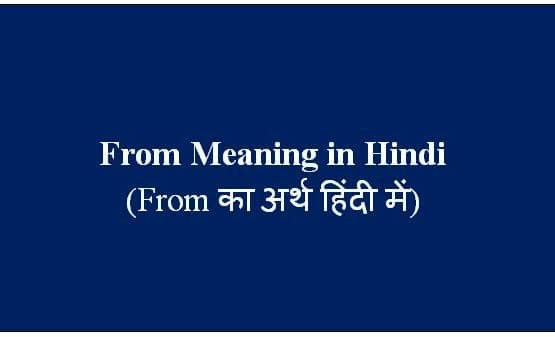 From Meaning in Hindi - Use and Examples (From का अर्थ हिंदी में)