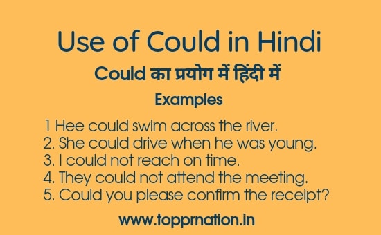 Use of Could in Hindi - Meaning, Examples and Exercises