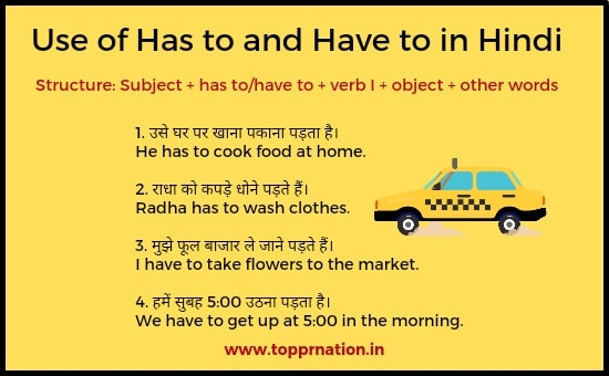 Use of Has to, Have to in Hindi - Rules, Examples and Exercises